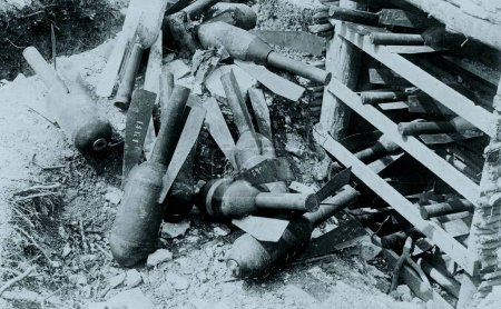 View of pile of signal rockets on ground