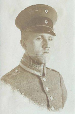 Young german sergeant posing at camera