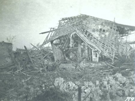 Heave damaged house in village after bombing