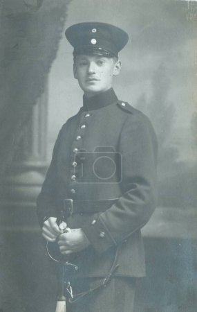 German soldier posing at camera in studio