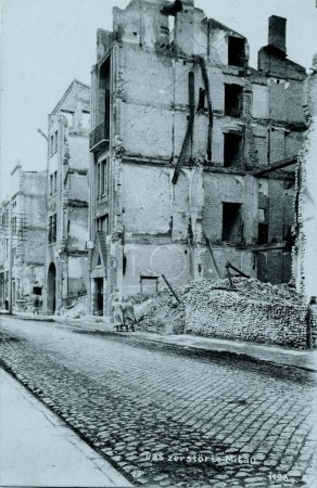View of damaged houses after bombing in Mitau, Latvia
