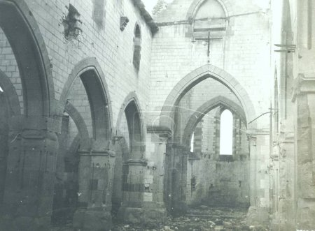 Inside view of heavy damaged church without roof