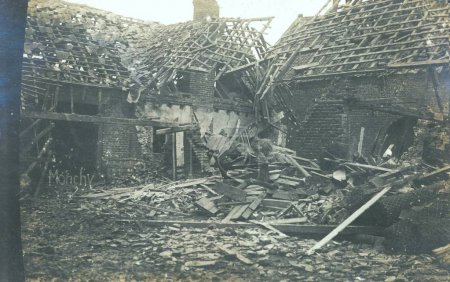 Heavy damaged houses of village after bombing