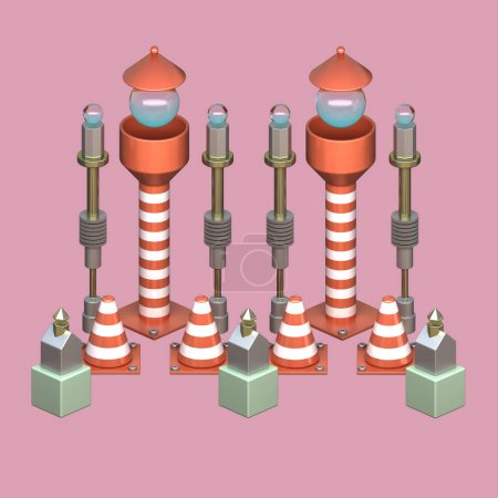 3d abstract objects similar to road infrastructure marks isolated on pink background with metallic elements