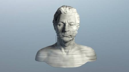 3d rendering of abstract human torso, with horizontal striped texture. Destructed white bust sculpture on blue background, modern art.