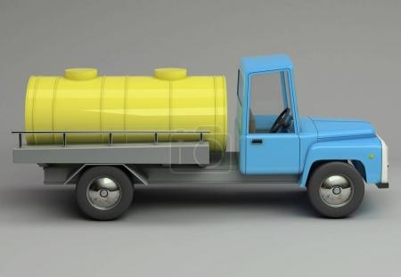 3d funny cartoon styled milk tanker. Glossy bright  vehicle on grey background with realistic shadows.