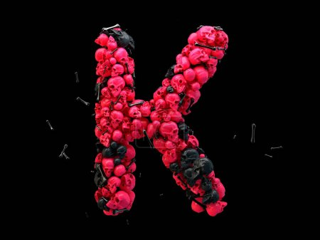 3d rendering of alphabet letter K. Skulls and bones 3d font, colored pink and black