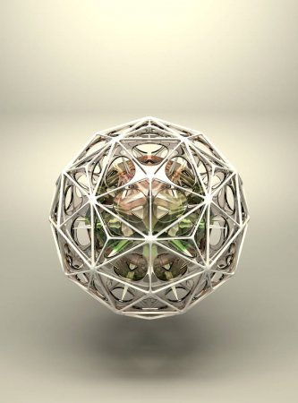 3d abstract geometric structure polyhedron