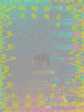 3d rendering of abstract background with light fluorescent colors. Hard glitch distortion in pastel, neon colors.