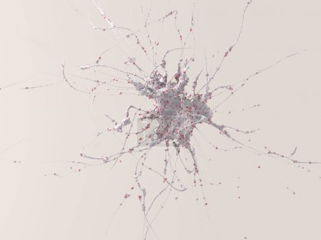 3d rendering of neuron. Cell of the central nervous system, neural path in brain.