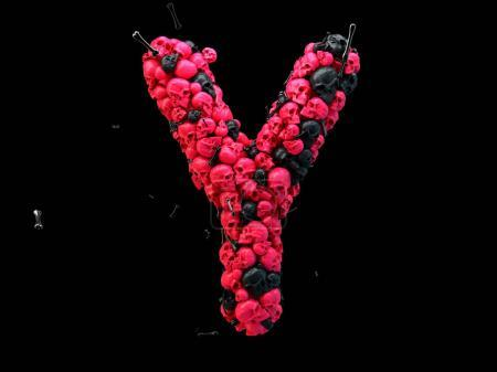 3d rendering of alphabet letter Y. Skulls and bones 3d font, colored pink and black