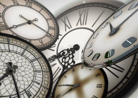 3d clocks floating in abstract space moving forward in time on background