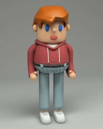 3d rendering of redhead young man in t-shirt, red hoodie, jeans and sneakers. Cartoon stylized 3d character illustration. Cute figure in full growth isolated on grey background.