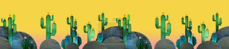 3d cartoon stylized decorations. Mexican theme.  Flat hills with cactuses . Wooden theatrical scenery style, or layered as pop-up books. Seamless border pattern on vivid yellow background