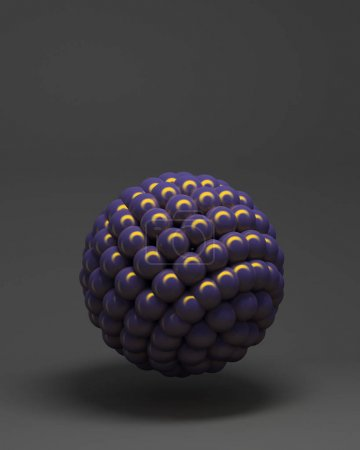 3d rendering of group of spheres. Black background with abstract spheres composition.