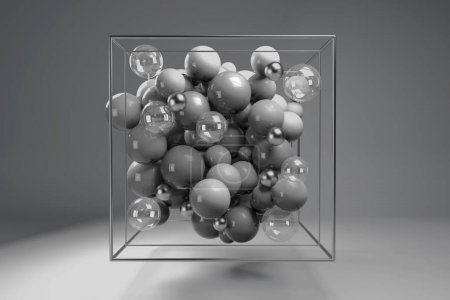 3d group of monochrome glossy spheres in chrome wire cube. Grey plastic balls with transparent bubbles and metal spheres. Centered composition on gray background.