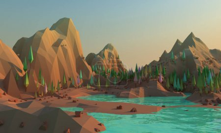 3d rendering of scenic mountains landscape on an alien planet. Abstract Sci fi mountains of Mars