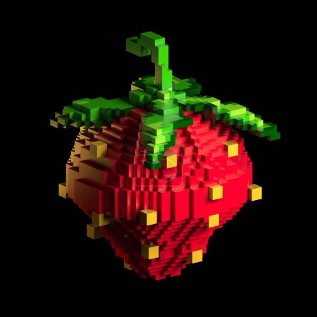 3d rendering of stylized strawberry. Symbols food. Retro game style. Pixel art On black background.