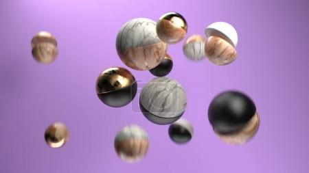 3d rendering group of abstract spheres.