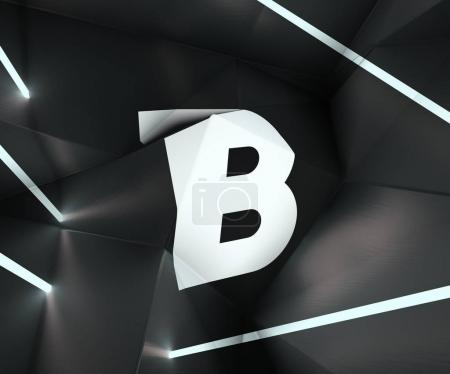 3d rendering of alphabet projected on refracted surface with neon lights on the sides. Creative geometric typography. Low poly style letter B on black metallic  background.