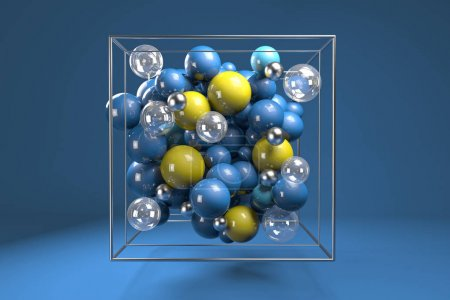 3d group of colorful glossy spheres in chrome wire cube. Bright blue and yellow plastic balls with transparent bubbles and metal spheres. Centered composition on blue background.