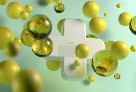3d rendering of white medical cross and random flying spheres in perspective on light background.