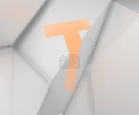 3d rendering of alphabet projected on refracted surface. Stylized broken ABC. Creative geometric typography. Stylish font on white low poly background. Polygonal letter T