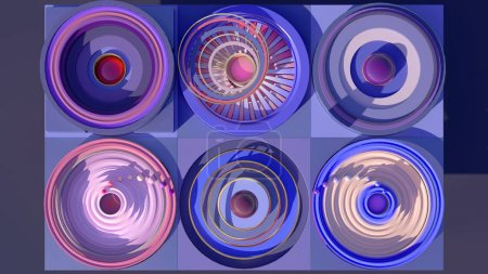 3d rendered science fiction mechanism with blocs of electrons flying around their cores on purple background.