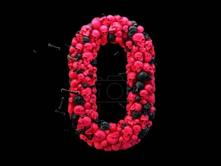3d rendering of alphabet letter O. Skulls and bones 3d font, colored pink and black