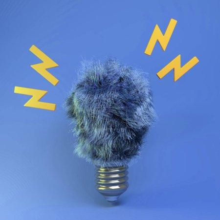 Photo pour Rendu 3d de l'ampoule en fourrure. Fausse lampe. Conception éco-énergétique verte. Concept d'idée. Objet isolé sur fond bleu . - image libre de droit
