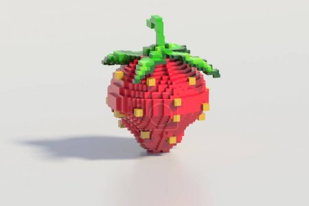 3d rendering of stylized strawberry. Symbols food On white background.