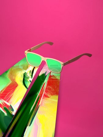 3d rendering abstract sunglasses with stylized splash  of colorful glitch. Concept  hot summer time, party, bright vision. Vivid multicolored gradient mirrors glass isolated on pink background