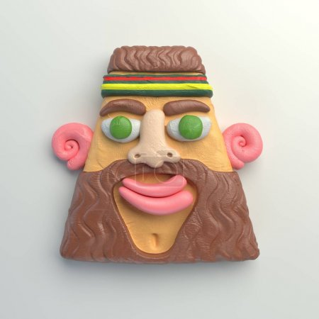 3d rendering of stylized cartoon head. Colorful plasticine figure. Realistic clay model. Isolated on white background. Smiling bearded ma