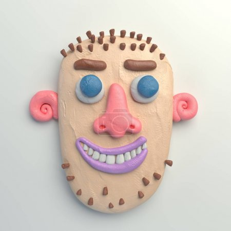 3d rendering of stylized cartoon head. Colorful plasticine figure. Realistic clay model. Isolated on white background.  Smiling bald-headed man.