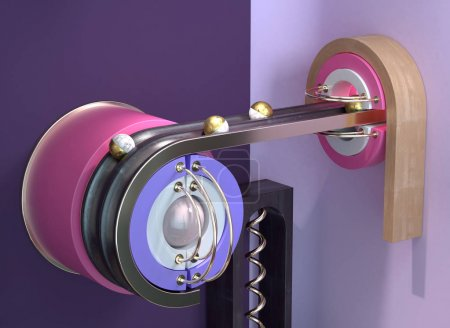 Photo pour 3d rendu mécanisme abstrait avec des boules en laiton dans des canaux sur fond violet fendu - image libre de droit