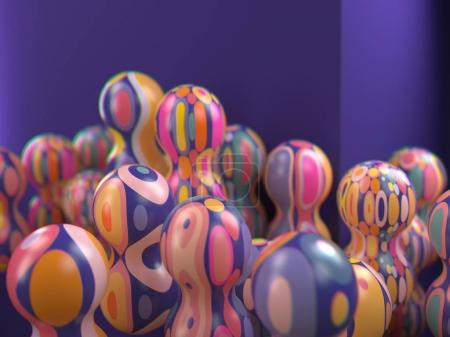 3d rendering of multicolored decorative balls. Many spherical shapes with geometric pattern. Textured vivid objects. Abstract composition. Close up selective focus. Shallow DOF. On purple background.