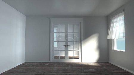 3d rendering of white sunny empty room without furniture. Closed door. Wind through open windows. Dappled light drop on walls and wooden floor. Modern house.