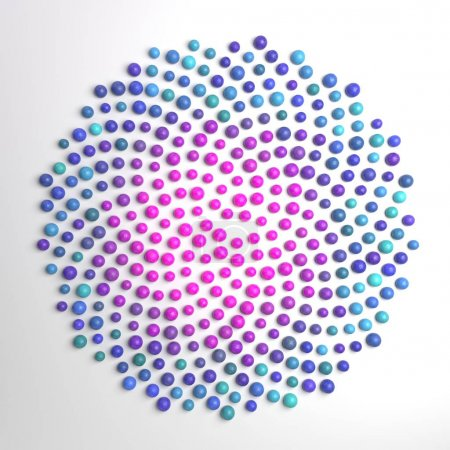 Dotted fibonacci spiral. Abstract flower.