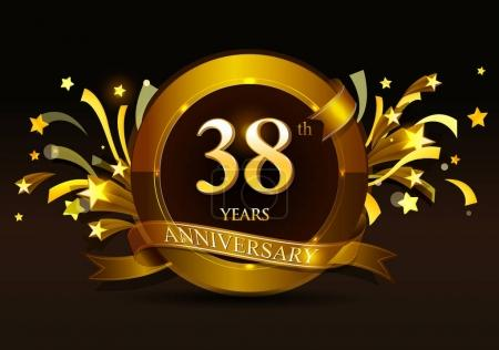 Logo design for 38    years  anniversary with  golden number  on dark background