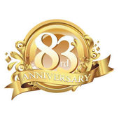 83 years anniversary golden decorative background ring and ribbon