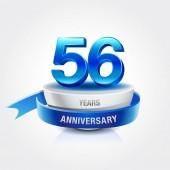 56  years blue and white  anniversary decorative background