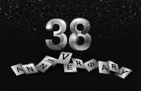 38  years  silver   anniversary decorative background
