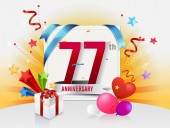 77  years  anniversary decorative background with balloons