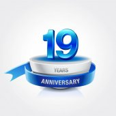 19  years blue and white  anniversary decorative background