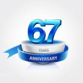 67  years blue and white  anniversary decorative background
