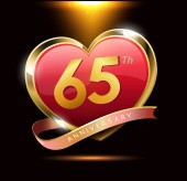 65  years  anniversary decorative background with heart