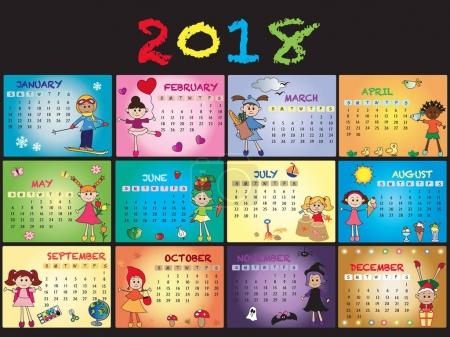 calendar 2018 with children