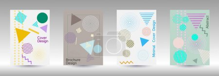 Illustration for Minimum vector coverage. Modern Memphis background. Artistic geometric cover design. Fashionable  cover, banner, poster, booklet. Creative colors backgrounds. - Royalty Free Image
