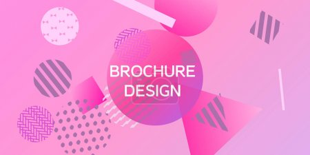 Illustration for Futuristic retro 3D geometric design.  Minimal universal banner templates in memphis style. Minimalistic pink background design with dynamic shapes. Vector illustration. - Royalty Free Image