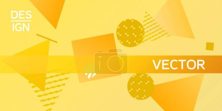 Illustration for Geometric yellow abstract background with trendy isometric shapes. Minimal universal banner templates in memphis style. Dynamic composition. Vector illustration. - Royalty Free Image